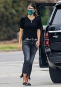 Jordana Brewster spotted in a black top and denim while making a stop at a gas station in Brentwood, California
