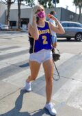 Jordyn Jones sports a 'Lakers' top and tiny denim shorts while out for lunch with friends in West Hollywood, California
