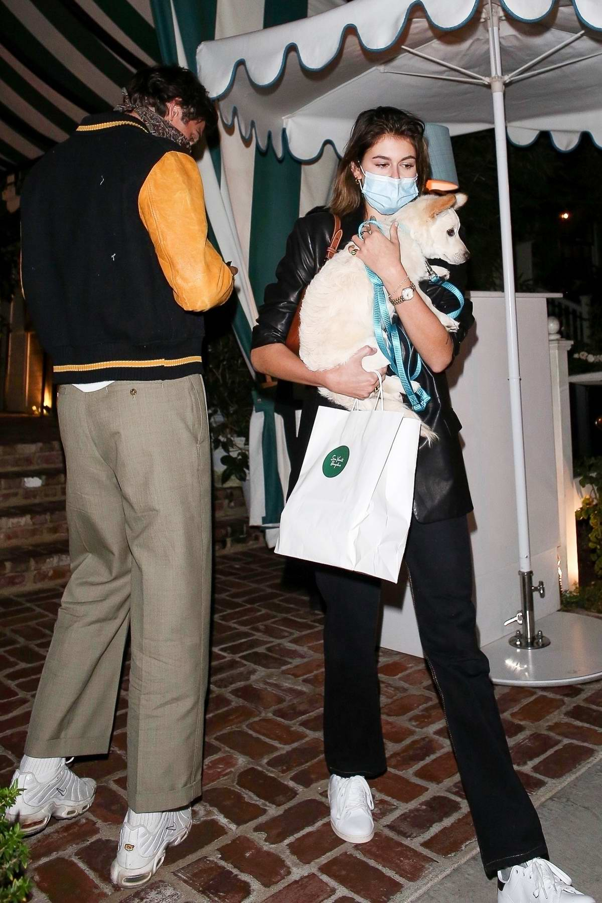 Kaia Gerber and Jacob Elordi look stylish while out for a dinner date at San Vicente Bungalows in West Hollywood, California