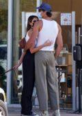 Kaia Gerber and Jacob Elordi pack on some PDA during a coffee run in Malibu, California