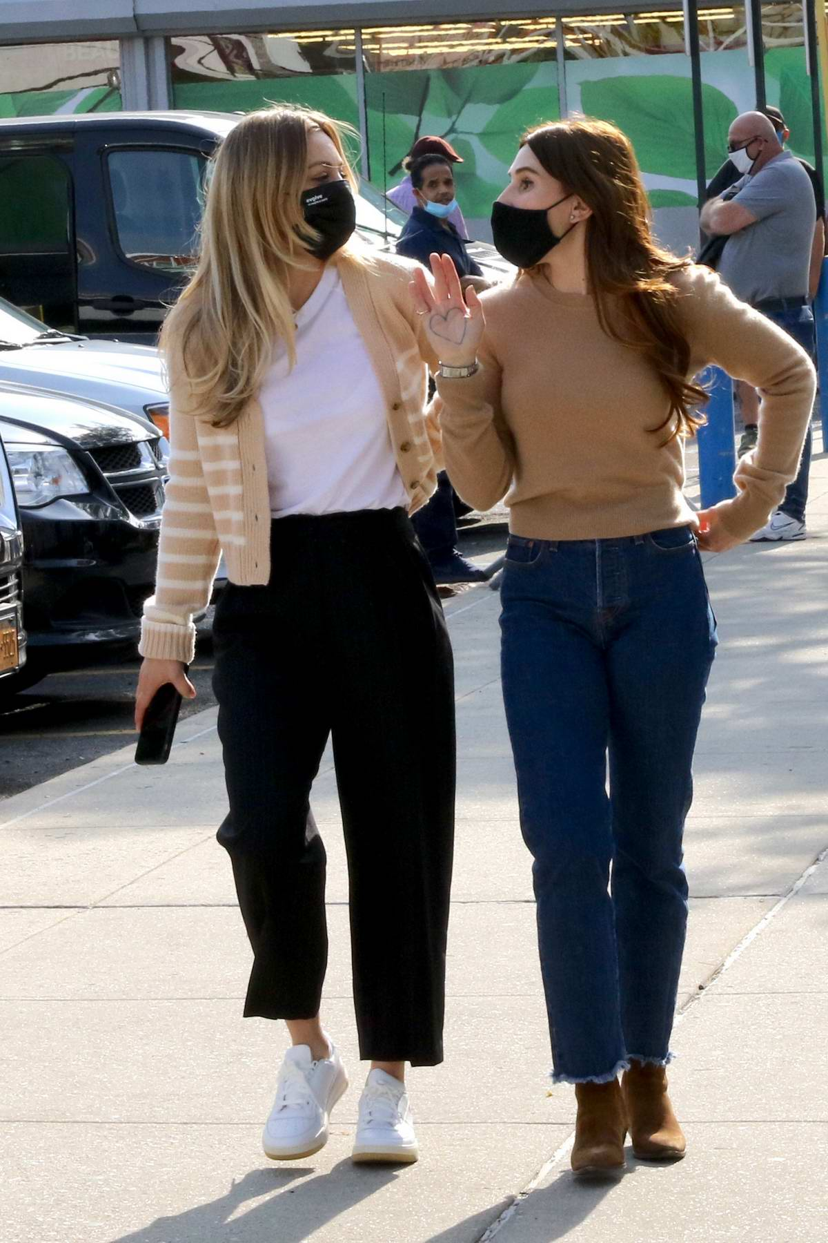 Kaley Cuoco and Zosia Mamet spend quality time on their last day filming at 'The Flight Attendant' set in Queens, New York