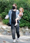 Kate Mara takes her daughter along while out for coffee with a friend at Griffith Park in Los Feliz, California