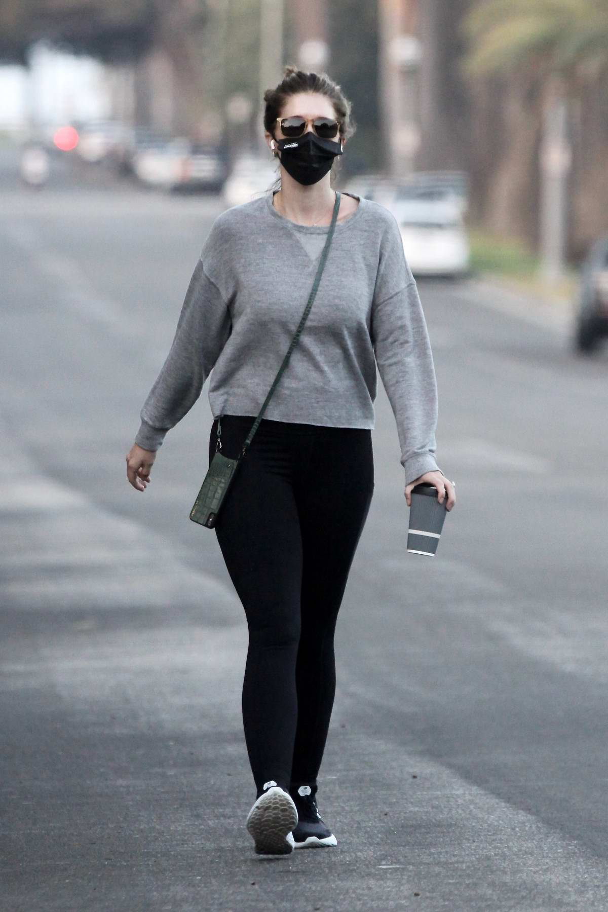Katherine Schwarzenegger shows off her fit post baby figure while out for a walk in Santa Monica, California