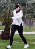 Katherine Schwarzenegger sports a white hoodie and black leggings while out for a power walk in Santa Monica, California