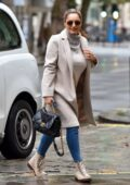 Kelly Brook keeps it stylish as she arriving at the Global studios for her Heart radio show in London, UK