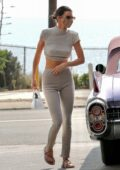 Kendall Jenner looks stylish in gray backless top while stopping by a local gas station in Malibu, California