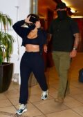 Kim Kardashian flaunts her toned abs as she leaves a skin care appointment in Beverly Hills, California