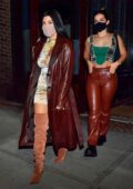 Kourtney Kardashian and Addison Rae step out wearing matching leather ensemble for a girls night in New York City