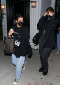 Kylie Jenner and Anastasia Karanikolaou seen leaving a voting popup in West Hollywood, California
