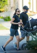 Lea Michele and Zandy Reich take their baby out for an afternoon walk in Brentwood, California