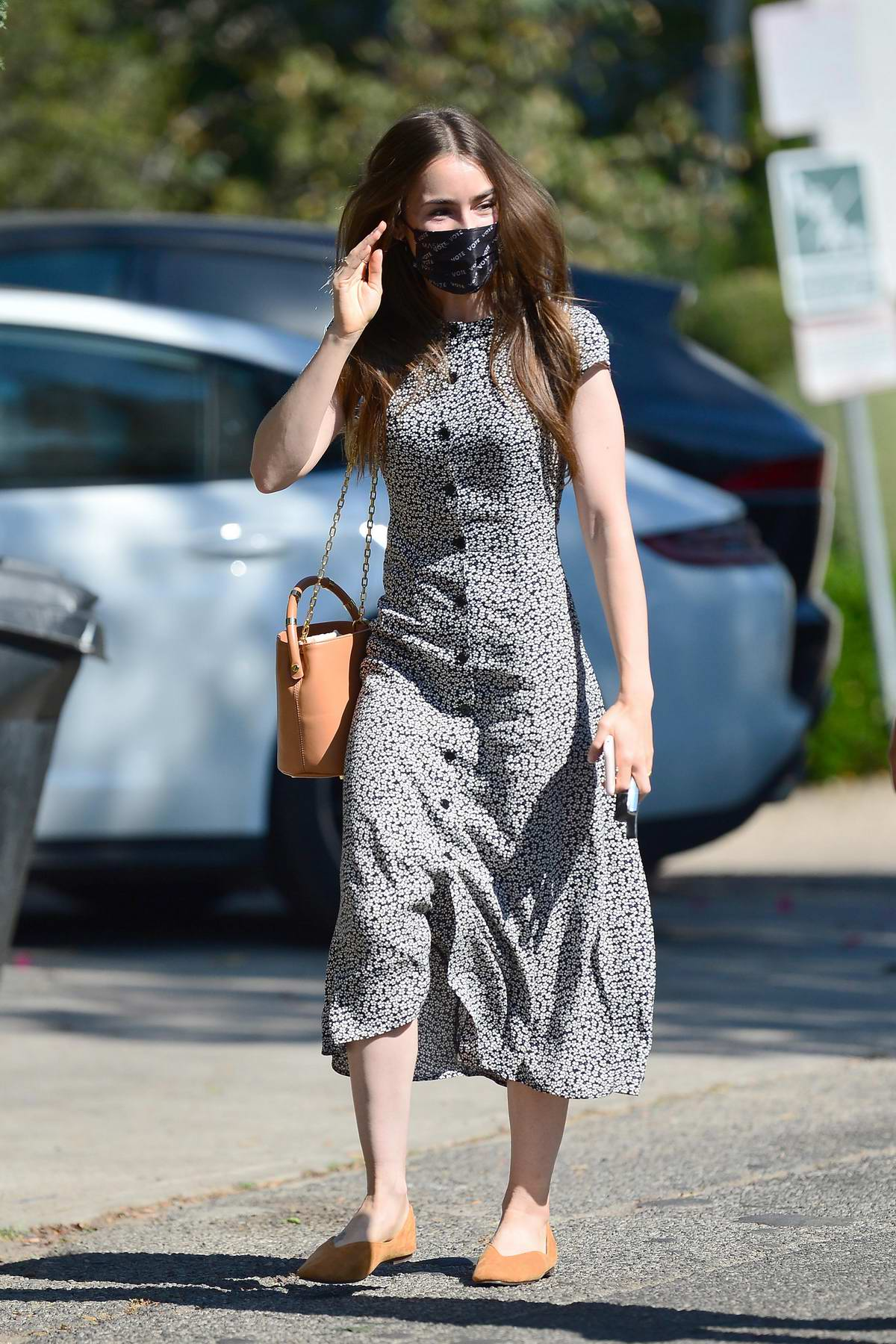 Lily Collins seen for the first time since her engagement to Charlie McDowell, Los Angeles