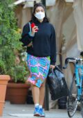 Lourdes Leon dons colorful skirt with a black hoodie while out shopping in SoHo, New York City