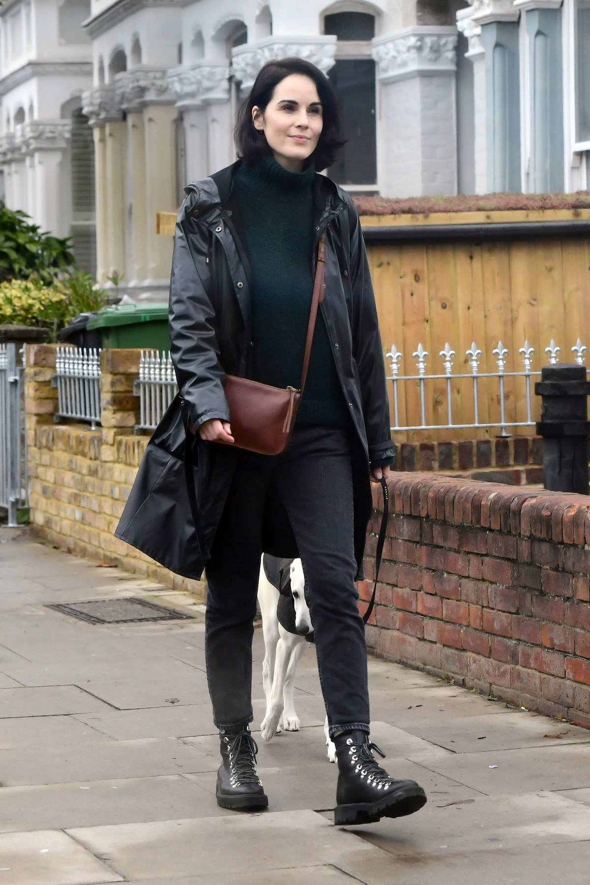 Michelle Dockery steps out for a dog walk in London, UK