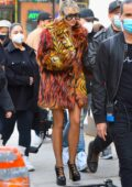Miley Cyrus seen leaving the set of her new music video in East Village, New York City
