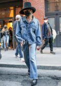 Miley Cyrus sports double denim while leaving a building in New York City
