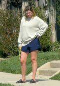 Mischa Barton takes her elderly Cocker Spaniel for a quick walk in Los Angeles