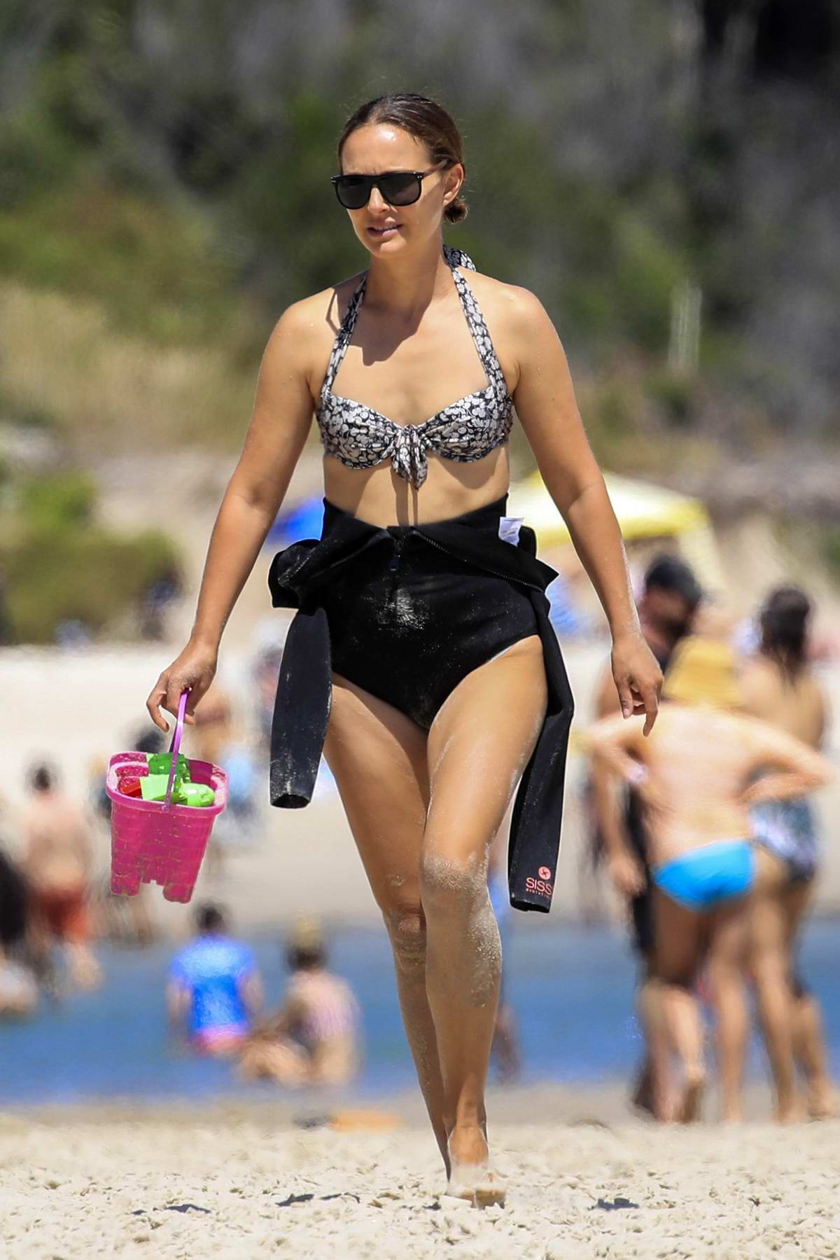Natalie Portman spotted in a patterned bikini top while enjoying a beach day in Byron Bay, Australia