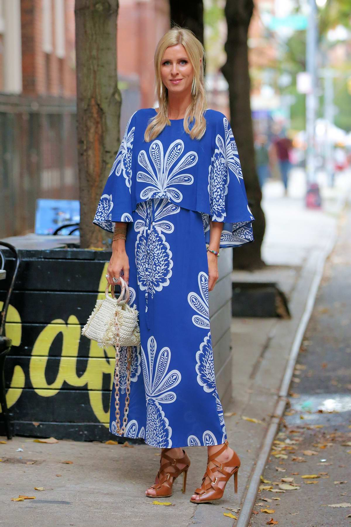 Nicky Hilton looks great in a blue maxi dress while out on stroll in New York City