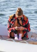Nina Agdal enjoys a boat ride with Jack Brinkley-Cook in the Hamptons, New York