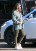 Olivia Munn spotted in a oversized sweatshirt and leggings as she leaves the gym in Los Angeles