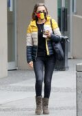 Rachael Leigh Cook grabs coffee before heading to work in Vancouver, Canada