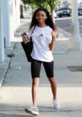 Skai Jackson seen arriving at the DWTS studio then seen heads out after a morning dance practice in Los Angeles