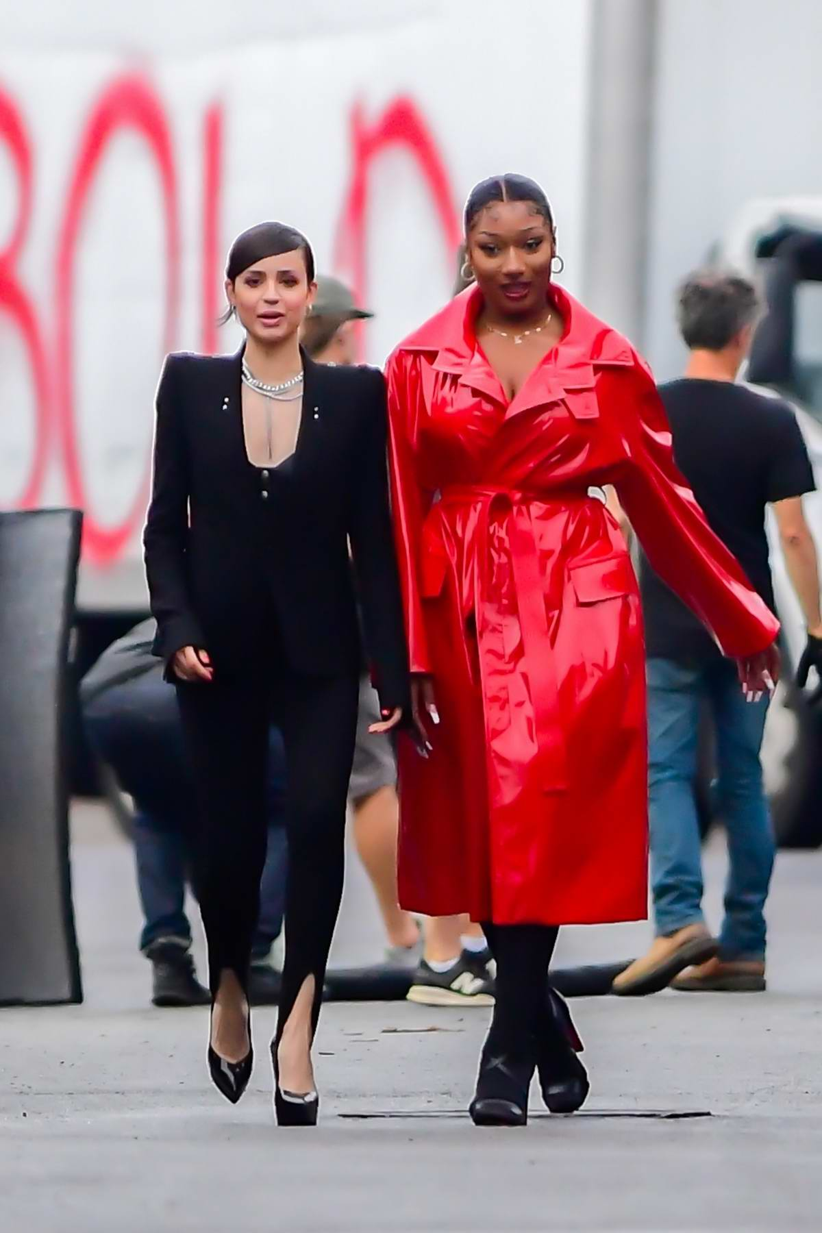 Sofia Carson and Megan Thee Stallion spotted on the set of a Revlon shoot in New York City