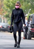 Sofia Richie sports a black jacket and leggings as she leaves a yoga class in West Hollywood, California