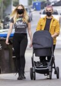 Sophie Turner and Joe Jonas step out for a stroll with their daughter in in Los Angeles