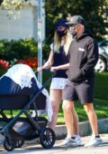Sophie Turner and Joe Jonas take a walk with their baby Willa in Los Angeles