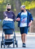 Sophie Turner and Joe Jonas take their 2-month-old daughter Willa out for a stroll through their neighborhood in Los Angeles