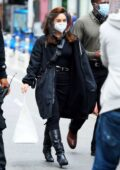 Vanessa Hudgens seen wearing a face shield while on the set of 'Tick, Tick... Boom!' in the East Village, New York