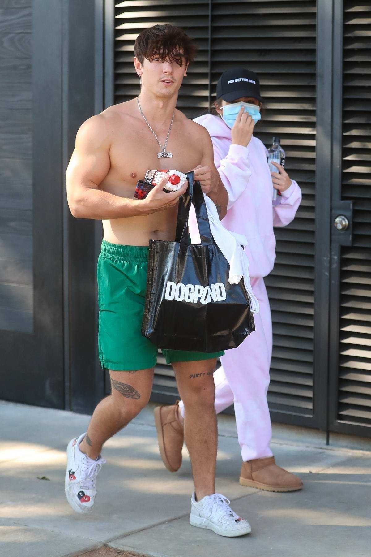 Addison Rae and Bryce Hall wrap up a workout session at Dogpound in West Hollywood, California