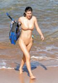 Alexandra Daddario stuns in a beige bikini as enjoys some snorkeling in Maui, Hawaii