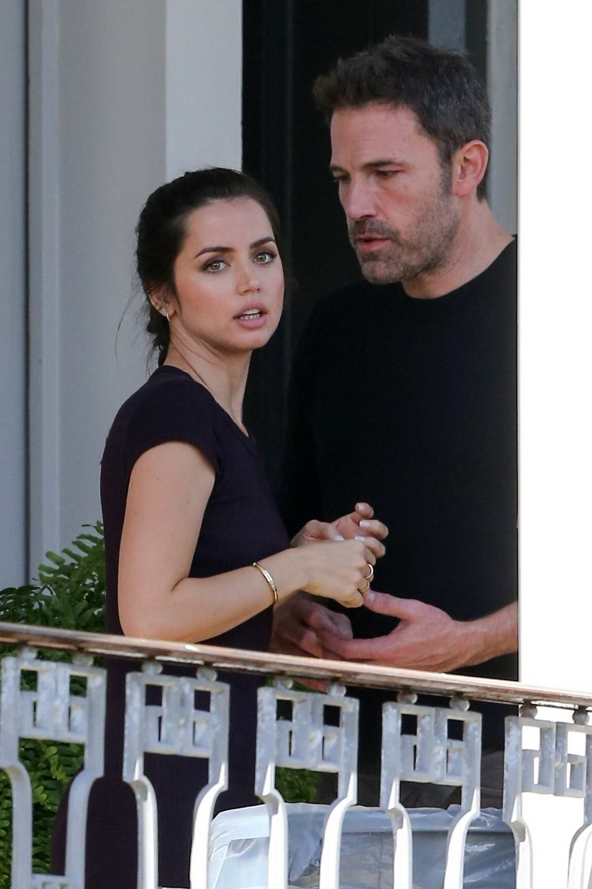 Ana de Armas and Ben Affleck spotted on a balcony while taking a break from filming in New Orleans, Louisiana