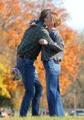 Anna Paquin and Garrett Hedlund seen filming 'Modern Love' in Collins Park in Schenectady, New York