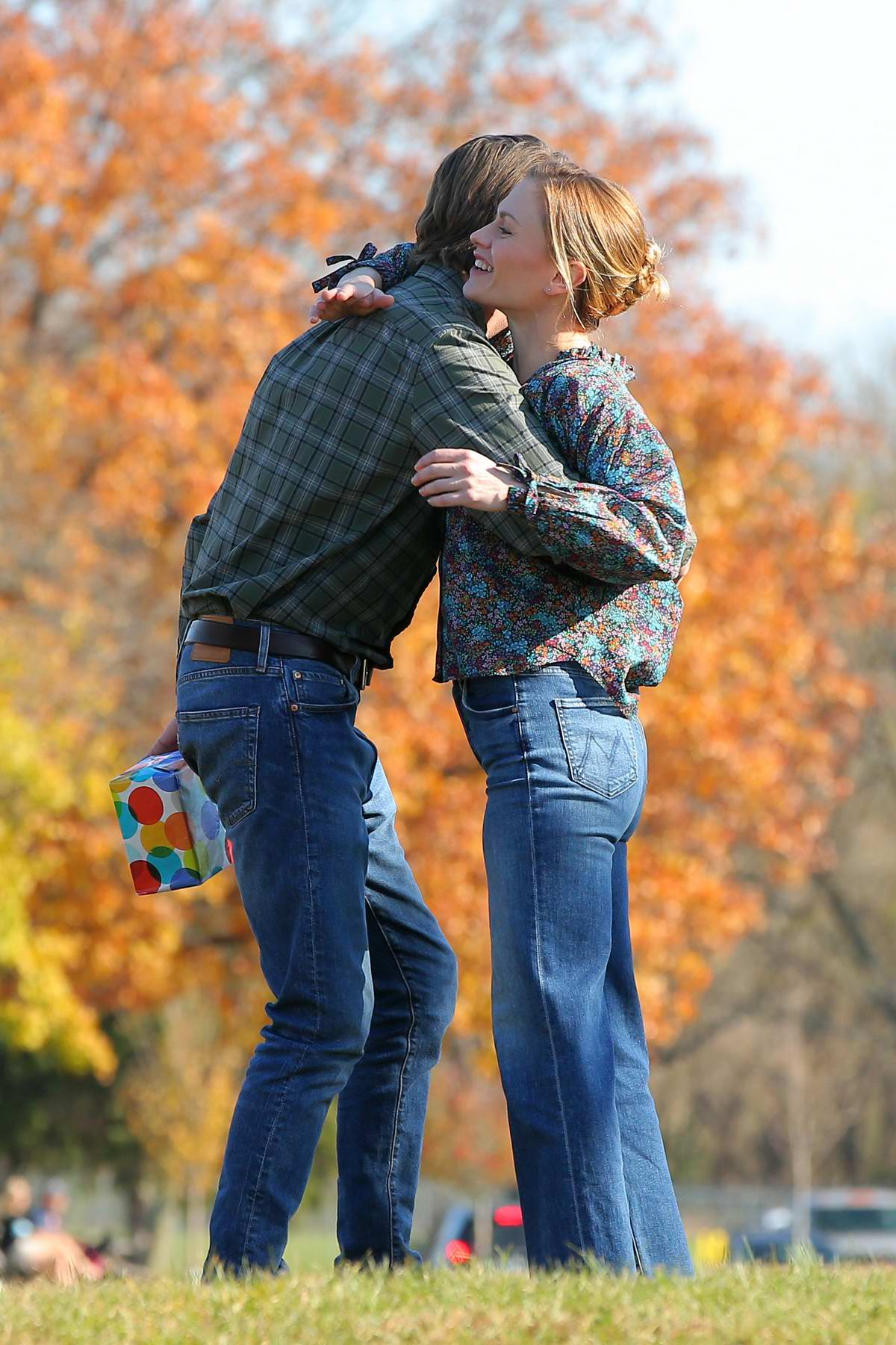 Anna Paquin and Garrett Hedlund seen filming 'Modern Love' in Collins Park in Schenectady, New York