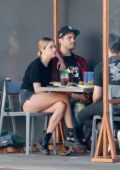 Ashley Benson shows off her legs during lunch with boyfriend G-Eazy a friend at Mustard Seed Cafe in Los Angeles