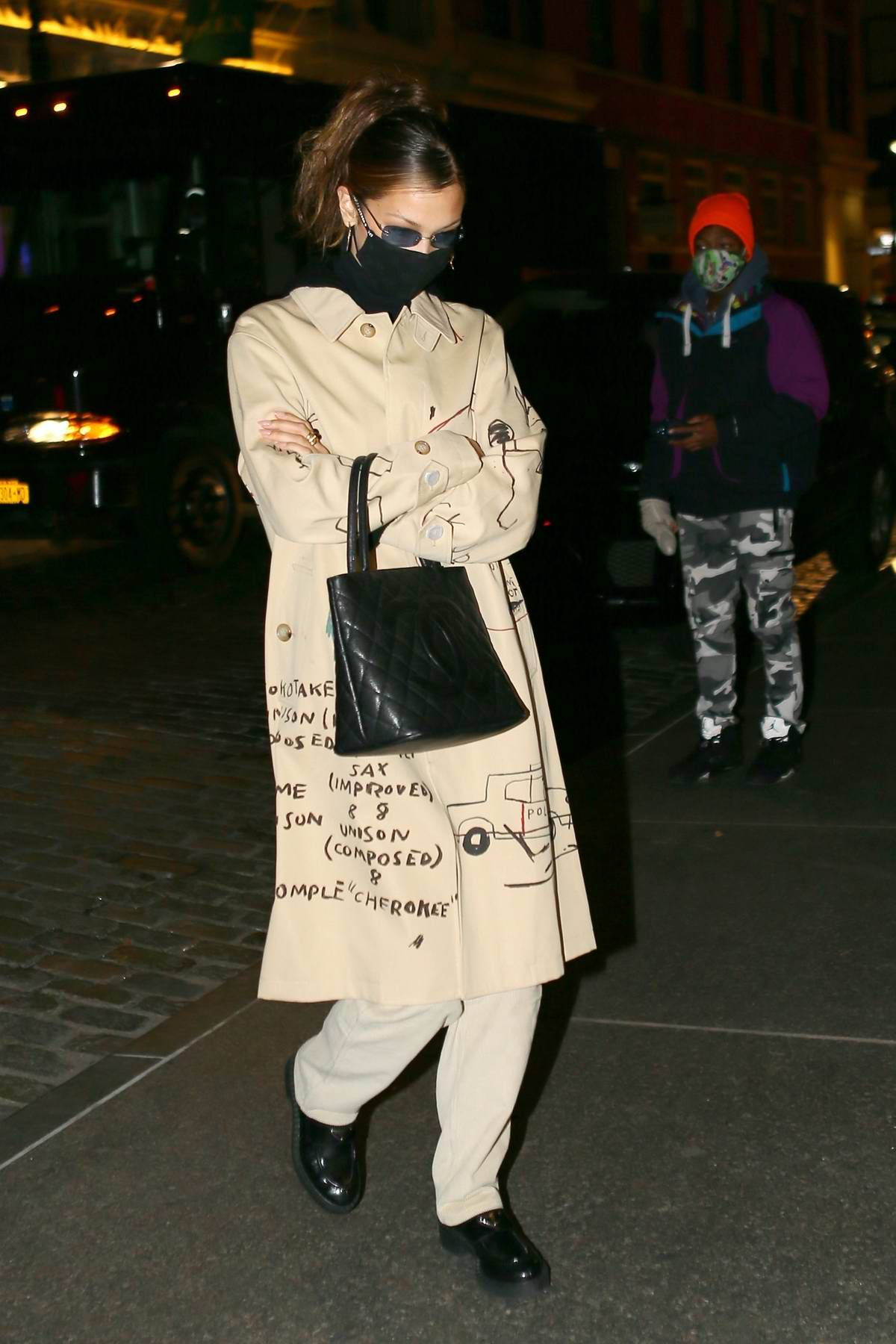 Bella Hadid looks stylish as she steps out for dinner with her mother Yolanda Hadid in New York City