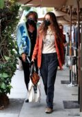 Bella Hadid takes her dad Mohamed Hadid out for a birthday lunch at Il Pastaio in Beverly Hills, California