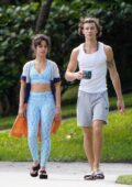 Camila Cabello and Shawn Mendes enjoy a leisurely stroll together after lunch in Miami, Florida