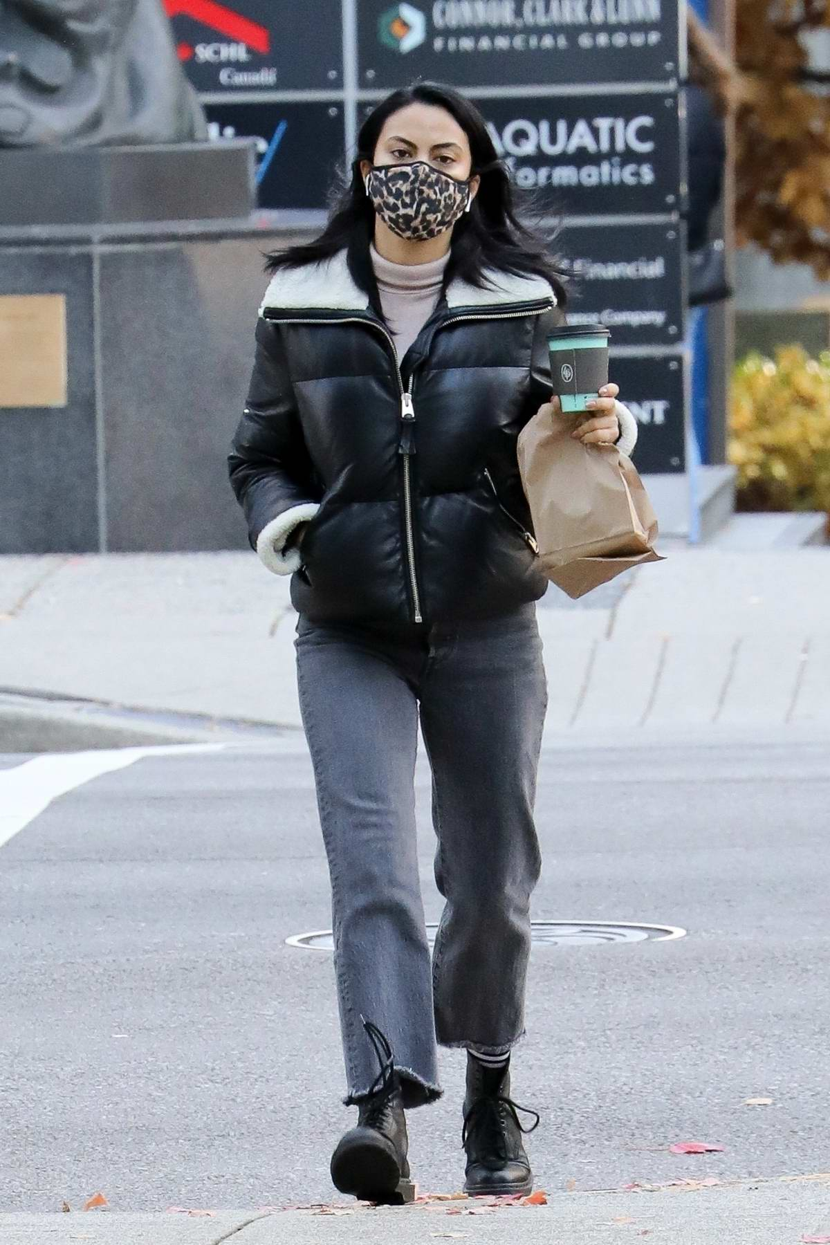 Camila Mendes grabs some coffee on a day off work in Vancouver, Canada