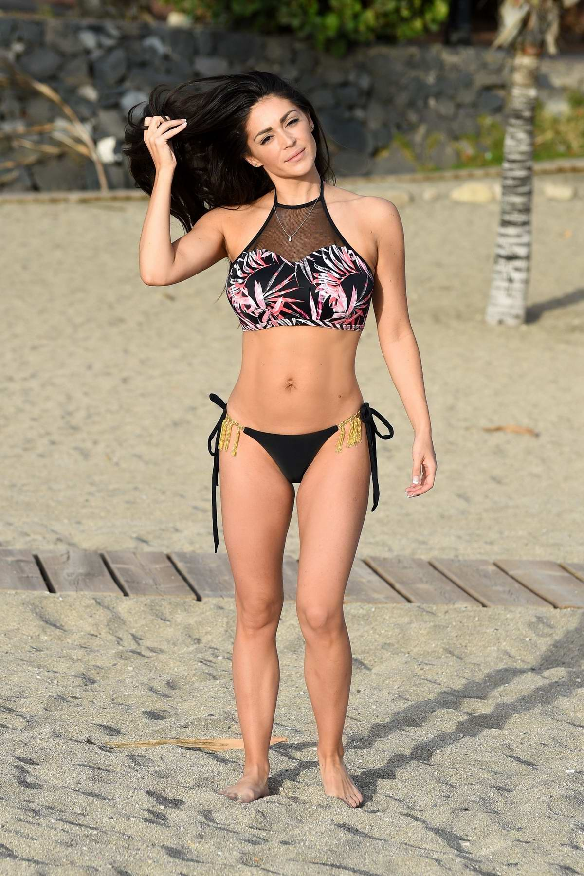 Casey Batchelor spotted in a bikini while filming for her fitness app 'Yoga Blitz' in Tenerife, Spain