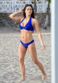 Casey Batchelor spotted in a blue bikini while filming for her fitness app 'Yoga Blitz' in Tenerife, Spain