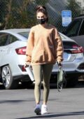 Chantel Jeffries wears a sweatshirt and leggings as she arrives for a workout session at Dogpound in Los Angeles
