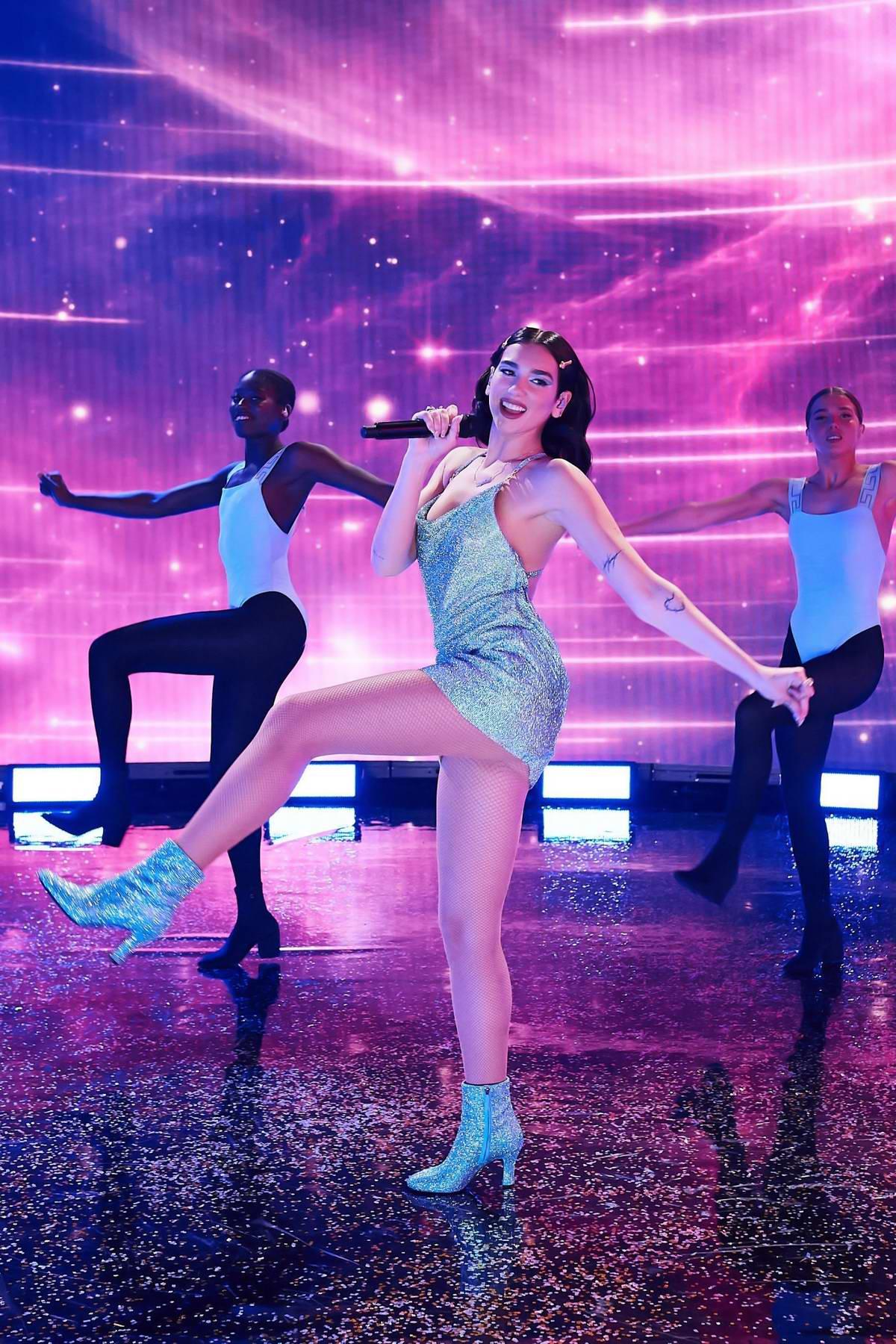 Dua Lipa performs at the 2020 American Music Awards in London, UK