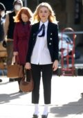 Emily Alyn Lind seen filming 'Gossip Girl' on the Upper East Side of New York City