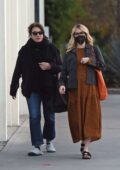 Emma Roberts wears a brown animal print maxi dress while out furniture shopping with her mom in Los Angeles
