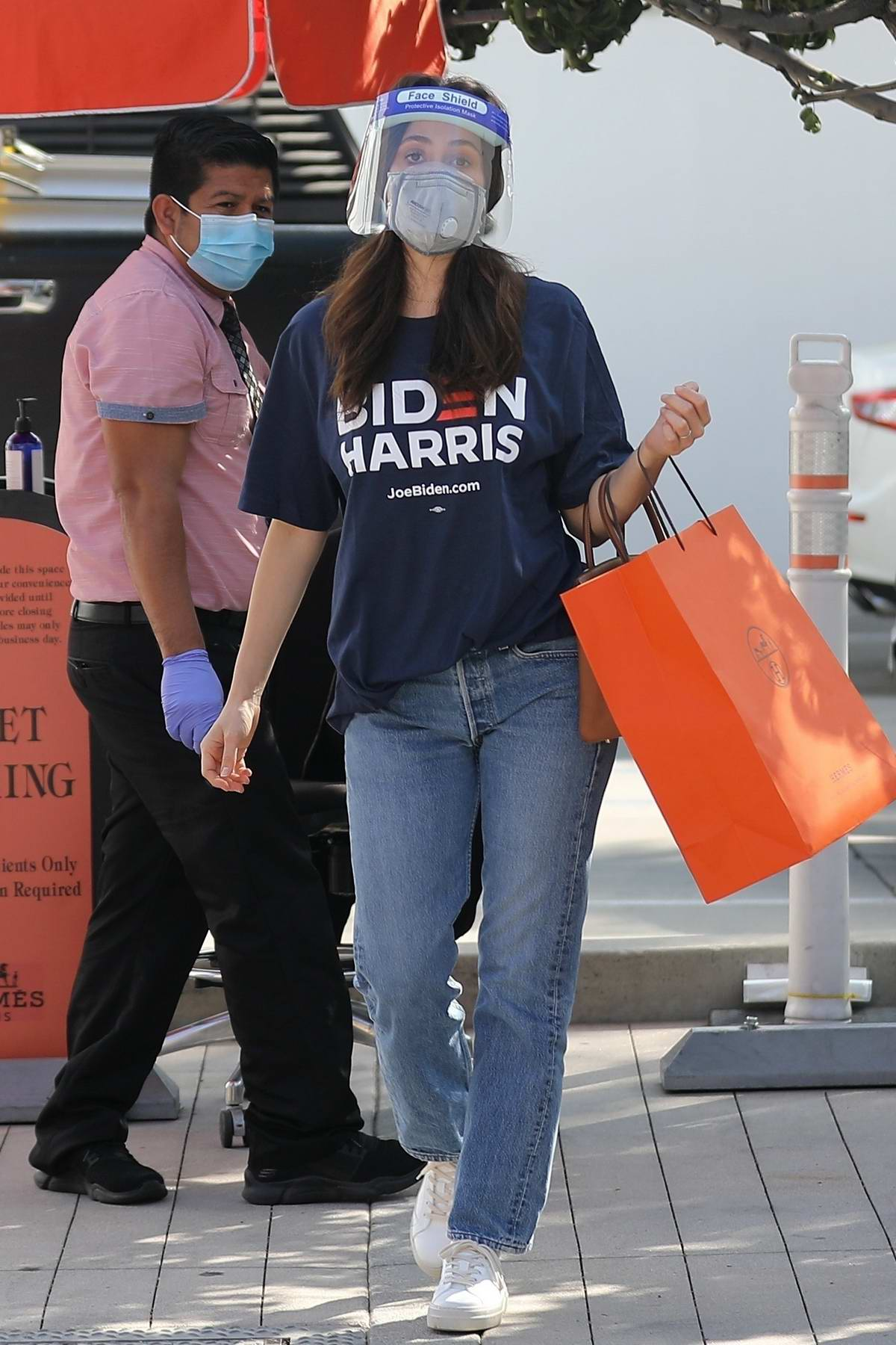 Emmy Rossum seen out on a shopping trip at Hermes on Rodeo Drive in Beverly Hills, California