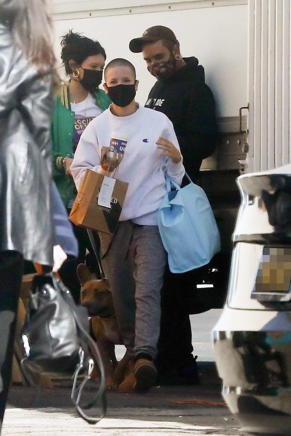 Halsey shows her new buzz cut as she arrives at a studio in Los Angeles